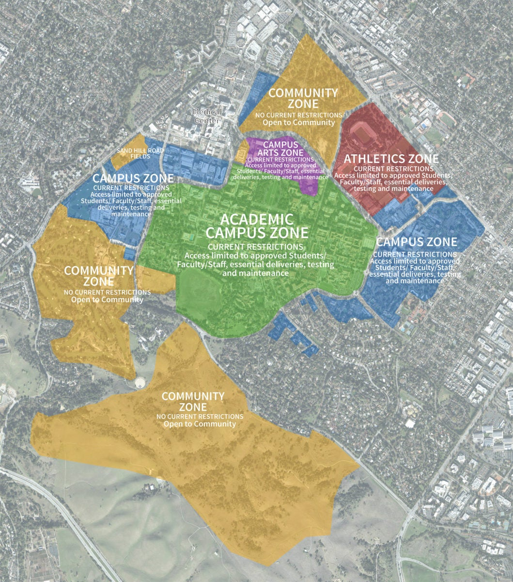 Map outlining campus zones